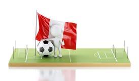 personnes de race blanche 3d avec le drapeau et le ballon de football du Pérou Photo libre de droits