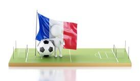 personnes de race blanche 3d avec le drapeau et le ballon de football de Frances Photographie stock libre de droits