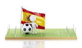 personnes de race blanche 3d avec le drapeau et le ballon de football de l'Espagne Images libres de droits