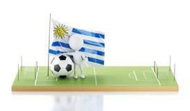 personnes de race blanche 3d avec le drapeau et le ballon de football de l'Uruguay Images stock