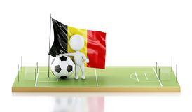 personnes de race blanche 3d avec le drapeau et le ballon de football de la Belgique Photographie stock