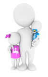 personnes de race blanche 3d avec ses enfants Photo libre de droits