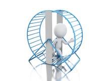 personnes de race blanche 3d courant dans une roue de hamster Illustration Libre de Droits