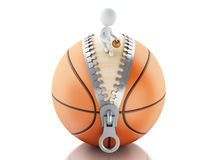 personnes de race blanche 3d jouant sur la boule de basket-ball Photos stock