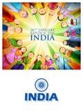 Personnes de religion différente montrant l'unité dans la diversité le jour heureux de République de l'Inde illustration libre de droits