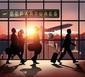 Personnes de silhouette dans l'aéroport Photographie stock