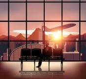 Personnes de silhouette sur le fond d'aéroport Image libre de droits