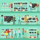 Personnes de sourire dans des achats de magasin électronique pour l'équipement domestique choisissant avec la bande dessinée de H illustration stock