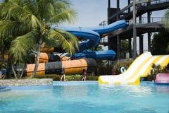 Personnes de voyageurs jouant la grande eau de glissière et nageant dans la piscine Photos libres de droits