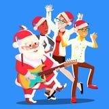 Personnes et guitare de Santa Claus Dancing With Group Of dans des mains Illustration de vecteur de fête de Noël illustration stock