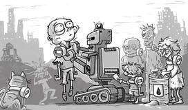 Personnes et robots pauvres d'apocalypse de courrier illustration stock