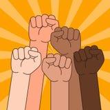 Personnes ethniques multi avec l'illustration augmentée de poing illustration libre de droits