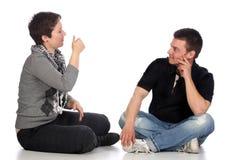 personnes expliquantes sourdes de main photos libres de droits