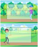 Personnes faisantes de la planche à roulettes en Sunny Park Vector Banner Illustration Libre de Droits