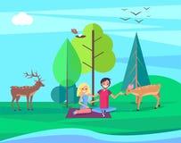 Personnes Forest Vector Illustration de jour d'environnement illustration stock