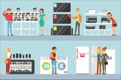 Personnes heureuses dans des achats de magasin électronique pour l'équipement domestique choisissant avec la bande dessinée de He illustration stock