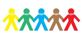 Personnes heureuses de couleur multi tenant des mains Photo stock