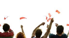Personnes heureuses ondulant les drapeaux de la Pologne clips vidéos