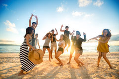 Personnes heureuses sur la plage images libres de droits