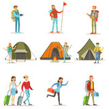 Personnes heureuses voyageant et faisant placer des vacances en camping Illustration Stock