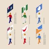 Personnes isométriques avec des drapeaux : Île de Pâques, Île Norfolk, Anta illustration stock
