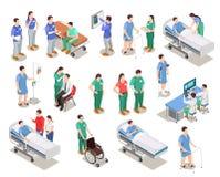 Personnes isométriques de patients de personnel hospitalier illustration libre de droits