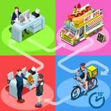 Personnes isométriques de vecteur de livraison à domicile de hot-dog de camion de nourriture illustration de vecteur