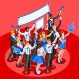 Personnes isométriques encourageantes de vecteur de foule d'Infographic d'élection Images libres de droits