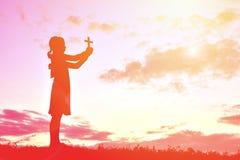 Personnes Jésus de silhouette et croix Photo libre de droits