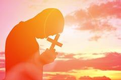 Personnes Jésus de silhouette et croix Photos libres de droits