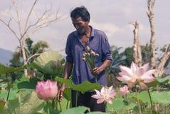 Personnes locales avec le lotus Photographie stock