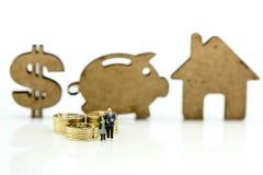 Personnes miniatures : Couples de l'amour avec le symbole dollar, tirelire, ho Images libres de droits