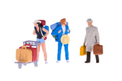 Personnes miniatures d'homme d'affaires et de touriste Photographie stock libre de droits