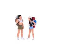 Personnes miniatures de randonneur et de touriste Photos libres de droits