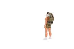 Personnes miniatures de randonneur et de touriste Images stock