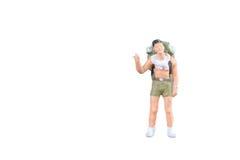 Personnes miniatures de randonneur et de touriste Photo stock