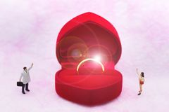 Personnes miniatures : Les femmes et les hommes se tiennent vis-à-vis de, entre avec l'anneau de mariage Utilisation d'image pour Image libre de droits