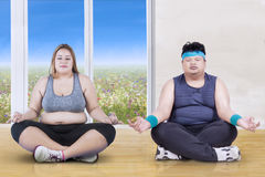 Personnes obèses faisant des poses de yoga Photographie stock
