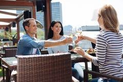 Personnes positives heureuses appréciant leur vin Photo stock