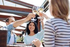 Personnes positives joyeuses soulevant leurs verres Photo libre de droits