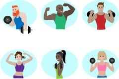 Personnes powerlifting de vecteur d'équipe de forme physique de sport Image libre de droits
