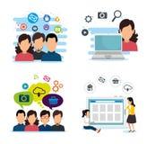 Personnes réglées avec la technologie sociale de médias d'applis illustration de vecteur