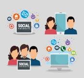 Personnes réglées avec la technologie sociale et les applis numériques illustration stock