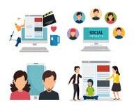 Personnes réglées et technologie sociale avec des applis numériques illustration libre de droits