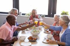 Personnes supérieures heureuses grillant des verres de jus à la table Photos libres de droits