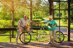 Personnes supérieures près de vélo tandem Photographie stock libre de droits