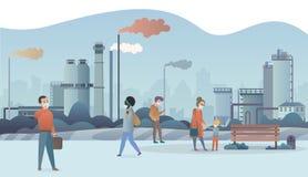 Personnes tristes et malheureuses portant les masques protecteurs protecteurs et marchant près de la ville de tuyaux d'usine avec illustration libre de droits