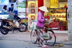 Personnes vietnamiennes avec l'épicerie de bicyclette Images stock