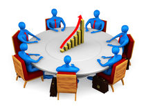 Persons around going up graph. 3d persons on the meeting Royalty Free Stock Photography
