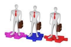 Persons with briefcases on the puzzles. 3d persons with briefcases on the puzzles Stock Image
